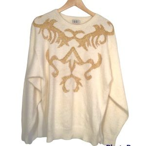 VINTAGE Women's Cream with Gold Accents Sweater 25% Angora 8% Lambswool Size XL